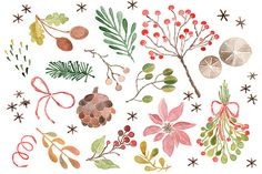 Check out Christmas Watercolor Clip Art by pdeasyprint on Creative Market
