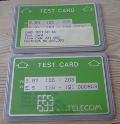 British Telecom (BT) Optical Cardphone Test Cards and Gyr, Test Card, Wallets, British, The Originals, Learning, Cards, Purses, Teaching