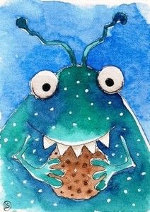 The cookie monster, watercolor by Lucia Stewart (2012)