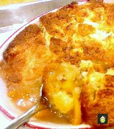 Peach Cobbler - This works fantastic with any of your favorite fruits! A really pleasing dessert best served warm with a blob of your favorite ice cream! Köstliche Desserts, Dessert Recipes, Great Recipes, Favorite Recipes, Fast Recipes, Yummy Food, Tasty, Love Food, The Best