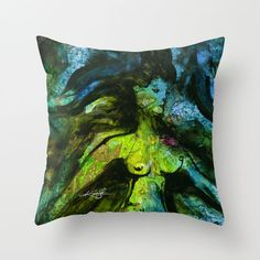 "Nude Goddess Pillow, Green, Blue, Pagan Abstract Painting, Watercolor Art, ""Goddess Art Dance"" Original by Kathy Morton Stanion  EBSQ"