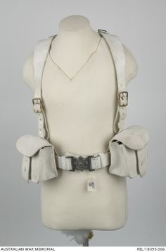 Pair of buff leather 1888 Pattern Valise Equipment braces and strap (as described in List of Changes 5696 29 June 1888 but shorter in length). The main strap of each brace measures 32 inches in ...