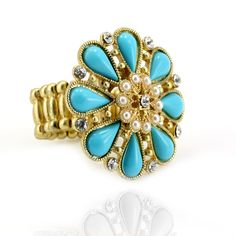 Paash Floral Stretch Turquoise Ring  http://blossomboxjewelry.com/r1024.html #jewelry #rings #turquoise
