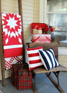 Cornbread & Beans Quilting and Decor Summer Porch, Summer Fun, Vintage Flag, Vintage Style, Quilt Ladder, Quilt Display, Two Color Quilts, Red And White Quilts, Old Quilts