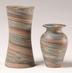 Niloak Mission Swirl Art Pottery Vases 2pc