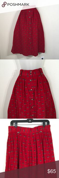 Vintage skirt red velvety corduroy Japan skirt 16 Vintage skirt red velvety corduroy Japan skirt 16 Mallard duck print  Buttons front  Pleated waistband  Measurements included for proper fit Arrow belt loops with buttons Vintage Skirts Maxi