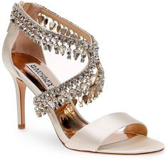 Badgley Mischka Grammy Jewel Embellished Open Toe High Heel Sandals
