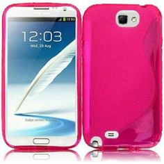 INSTEN For Samsung Galaxy S Note 2 N7100(AT & T) S Shape TPU Gel Skin Cover Case - Hotpink2