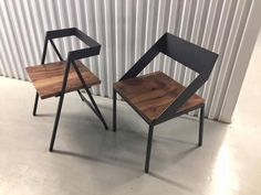 Handcrafted Wood and Metal Frame Dining Chair (Model Name: Emily) Mesa Metal, Wood And Metal, Metal And Wood Chairs, Wooden Chairs, Industrial Design Furniture, Metal Furniture, Repurposed Furniture, Furniture Ideas, Metal Dining Chairs