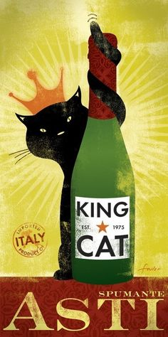 King Cat brand Asti Champagne original graphic by geministudio