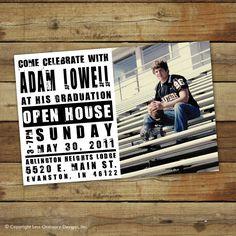 Photo graduation announcement, party invitation or open house invitation, school colors