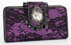 Universal Monsters Bride of Frankenstein Black & Purple Lace PVC Wallet [UM14WAL10BRIDE] - $38.00 : Mystic Crypt, the most unique, hard to find items at ghoulishly great prices!