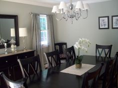 Dining room, I fell in love with this color scheme.  The color on the walls is my favorite silver sage by Restoration Hardware.  The color c...