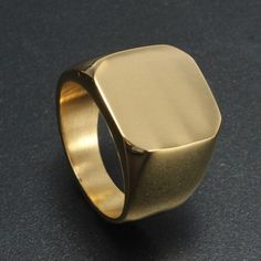 Gold Square Polished Stainless Steel Ring For Men #GoldJewelleryMen