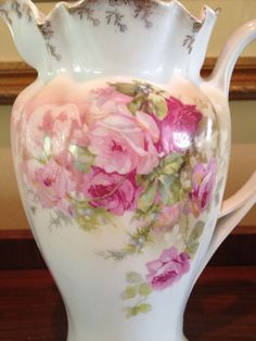 RS Prussia Bavaria Hand  Painted Porcelain Chocolate Coffee Pot with Soft Pink and Red Roses - Reinhold Schlegelmilch    c.1910