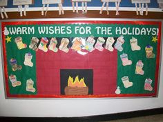 """Warm wishes"" stocking bulletin board"