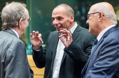Greek Finance Minister Yanis Varoufakis, center, gestures as he talks with Italian Finance Minister Pier Carlo Padoan, left, and French Finance Minister Michel Sapin during a meeting of eurozone finance ministers in Brussels on Thursday, June 25, 2015. Greece and its creditors launched a new round of talks in Brussels early Thursday in a fresh bid to unlock billions of euros in loans and save the country from bankruThe Latest on Greece: Experts are assessing new Greek offer - The Washington…