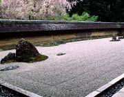 Carefully-arranged Japenese garden of pebbles and large rocks