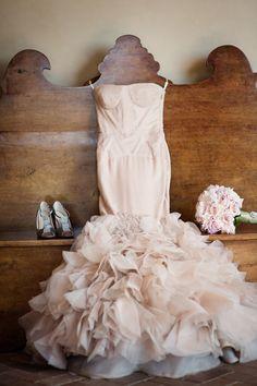 Vera Wang 'Holly' mermaid gown in blush pink, Escada shoes #verawang