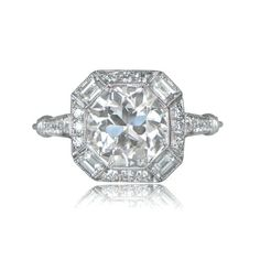 Estate Engagement Ring  2.21ct Old European Cut Diamond in