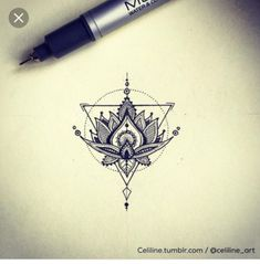 Geometric lotus flower tattoo