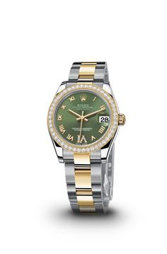 Rolex Date Just lady 31 with green dial and diamond bezel