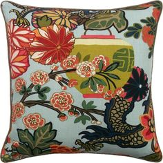 Chiang Mai Dragon Decorative Pillow Aquamarine This product sold at Mahones Wallpaper Shop at an exceptional price. Remember Mahones Wallpaper Shop only sells hand materials straight from Ryan Studio with full manufacturer guarantee. Koh Chang, Down Feather, Printed Linen, Aqua Color, Designer Pillow, Interior S, Chiang Mai, Traditional Design, Chinoiserie