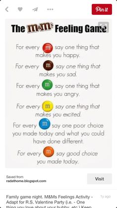 M&Ms Feelings Activity. Great for group counseling or a lesson on feelings. Keep positive! Can substitute Skittles as well (allergy-free) Group Counseling, Counseling Activities, School Counseling, Group Activities, Family Therapy Activities, Leadership Activities, Therapy Ideas For Kids, Anger Management Activities For Kids, Social Work Activities