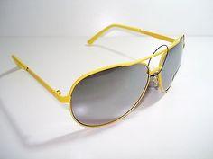 Vintage Sunglasses UNISEX AVIATOR MEN WOMEN'S FASHION DESIGNER GGAA4Y Yellow