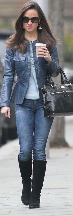 Who made Pippa Middleton's skinny blue jeans, black suede botos, blue leather jacket, black handbag, and top?