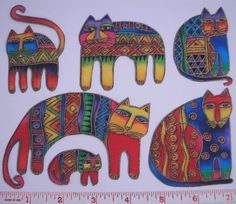 LAUREL BURCH Gatos Fanciful Felinos 6 tela por anniesporch