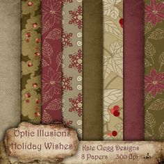 NEW  HOLIDAY WISHES  Digital Scrapbooking Papers by opticillusions, $2.75