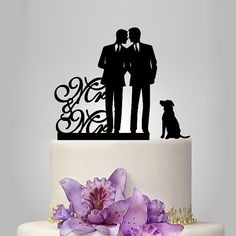 Gay wedding cake topper with dog same sex wedding by walldecal76