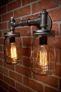Industrial Lighting – Lighting – Mason Jar Light – Steampunk Lighting – Bar Light – Industrial Chandelier – Wall Light - All For Decoration Pipe Lighting, Mason Jar Lighting, Unique Lighting, Mason Jar Lamp, Sconce Lighting, Lighting Design, Lamp Design, Lighting Ideas, Bathroom Lighting