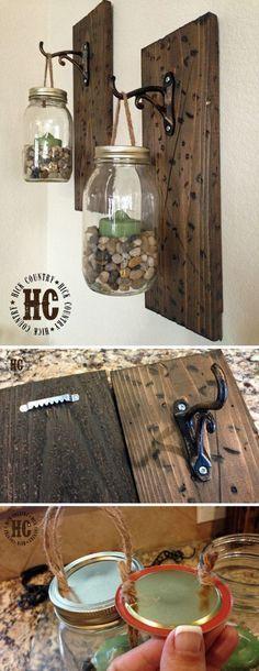 Rustic DIY Mason Jar Wall Lanterns. More