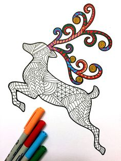 Christmas Holiday Reindeer  PDF Zentangle Coloring Page by DJPenscript on Etsy