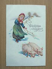 AK NEUJAHR 1927 Mädchen mit Schwein, Glücksschwein   ( 76539