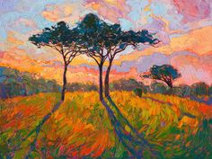 Vivid impressionistic color oil painting landscape by contemporary artist Erin Hanson Give the gift of beauty this holiday season. Erin Hanson prints available through Fine Art America. Abstract Painters, Abstract Landscape, Landscape Paintings, Art Paintings, Erin Hanson, Modern Impressionism, Tree Art, Painting Inspiration, Fine Art America