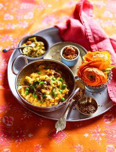 Yellow dhal with peas (arhar dhal matar)