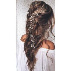20 Elegant Wedding Hairstyles with Exquisite Headpieces ❤ liked on Polyvore featuring beauty products, haircare, hair styling tools and hair