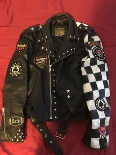 VTG Leather Rocker Jacket Cafe Racer Club 59  | eBay