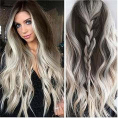 Cool Blonde Hair Colour, Brunette Color, Hair Color Purple, Brown Blonde Hair, Platinum Blonde Hair, Blue Hair, Golden Blonde, White Ombre Hair, Silver Blonde Ombre