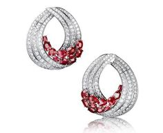 Diamond, Ruby and 18K White Gold Earrings