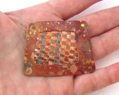 Handmade Woven Copper Brooch - Copper Patina. $52.00, via Etsy.