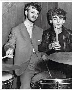 "* Ringo Starr (""Rory Storm & The Hurricanes"") & George Harrison (""The Beatles""). Abbey Road, George Harrison, Paul Mccartney, John Lennon, Jane Asher, Davy Jones, Rock Roll, Recital, Ringo Starr Photograph"