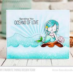 My second mermaid card for @mftstamps today. This is loooove  И вторая открытка с русалочкой на сегодня ;)