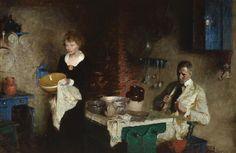 Dean Cornwell - Domestic interior, 1919. American, 1892-1960