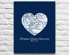 BYU Cougars Brigham Young University Provo Utah Vintage Heart Art Print DIGITAL DOWNLOAD diy printable Valentines Day, Graduation 8x10 11x14 by droppedpinshop on Etsy https://www.etsy.com/listing/230865508/byu-cougars-brigham-young-university