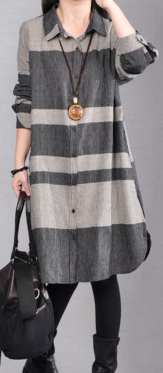 stylish gray pure linen dresses  plus size linen clothing dresses