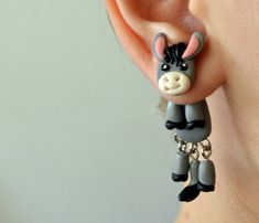 donkey dangling earrings fake gauge by JEWELRYandPLEASURE on Etsy